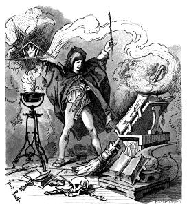 Dziewiętnastowieczna ilustracja do Der Zauberlehrling Goethego
