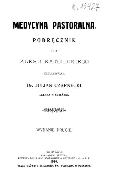Medycyna pastoralna z początków XX wieku.